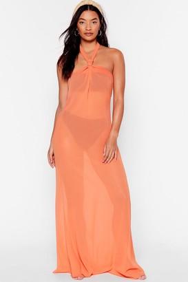 Nasty Gal Womens Shell We Dance Chiffon Cover-Up Dress - Orange