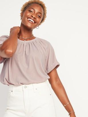 Old Navy Shirred Velvet Short-Sleeve Top for Women