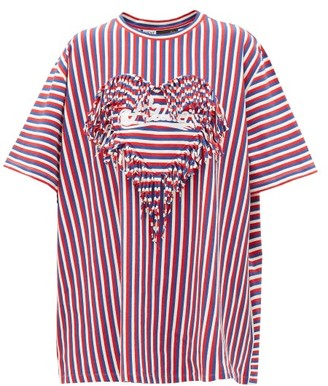 Loewe Paula's Ibiza - Fringe-trim Striped Boxy-fit T-shirt - Red Multi