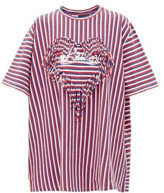 Loewe Paula's Ibiza - Fringe-trim Striped Boxy-fit T-shirt - Womens - Red Multi