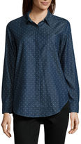 Liz Claiborne Long Sleeve Button Front Tunic