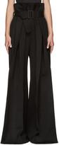 Yang Li Black Wide-Leg Torn Trousers