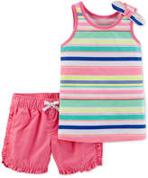 Carter's 2-Pc. Striped Cotton Tank Top and Cotton Shorts Set, Toddler Girls