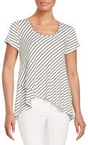 Bobeau Striped Wrap Trapeze Tee
