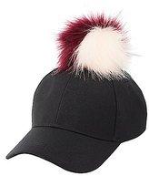 Charlotte Russe Faux Fur Pom Pom Baseball Hat