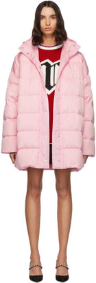 MSGM Pink Down Hooded Coat