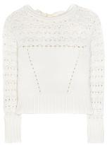 Oscar de la Renta Crochet-knit Cotton-blend Sweater