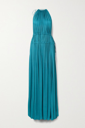 BONDI BORN Net Sustain Resplendent Gathered Washed-satin Maxi Dress - Teal