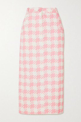 ROWEN ROSE Vichy Iconic Houndstooth Cotton-twill Midi Skirt - Pink