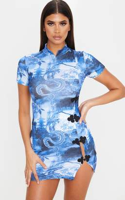 PrettyLittleThing Blue Dragon Print High Neck Short Sleeve Oriental Bodycon Dress