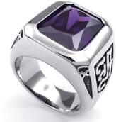 TEMEGO Jewelry Mens Cubic Zirconia Stainless Steel Ring, Classic Gothic, Purple Silver