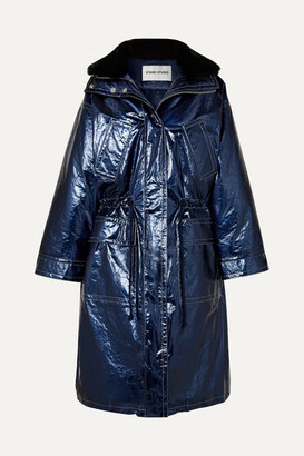 Stand Studio Fatima Oversized Faux Fur-trimmed Crinkled Metallic Faux Leather Coat