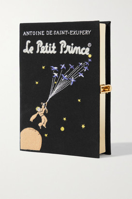 Olympia Le-Tan Le Petit Prince Embroidered Appliqued Canvas Clutch - Black