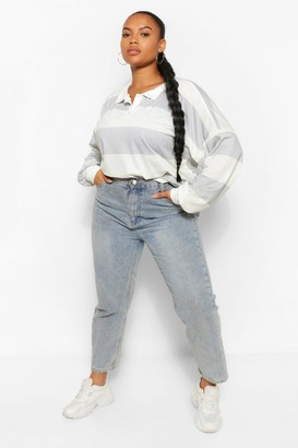 boohoo Plus Wide Stripe Rugby T-Shirt