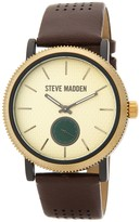 Steve Madden Women's Two-Tone Alloy Brown Leather Strap Watch