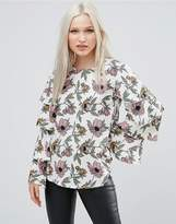 AX Paris Frill Sleeve Floral Top