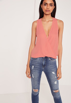 Missguided Wrap Front Sleeveless Blouse Rose