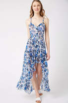 On The Road Button Front Floral Hi-Lo Maxi Dress Blue Multi L