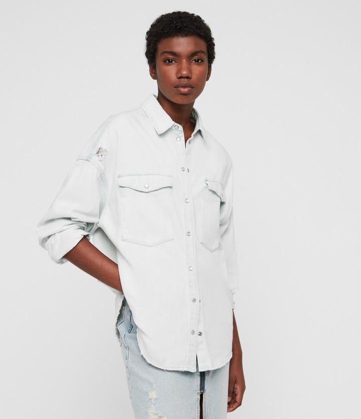 c5b64501403d2b AllSaints Grey Long Sleeve Tops For Women - ShopStyle UK