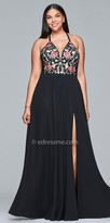 Faviana Floral Embroidered Lace Up Back Plus Size Prom Dress