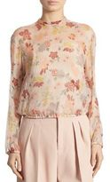 RED Valentino Metallic Floral-Print Blouse