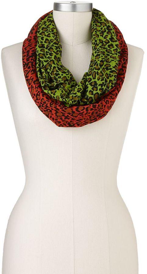 Rainbow leopard infinity scarf