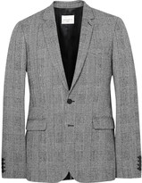 Sandro - Grey Slim-fit Prince Of Wales Checked Wool And Cotton-blend Suit Jacket