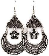 Nine Antiqued Silver Crescent and Daisy Chandelier Earrings