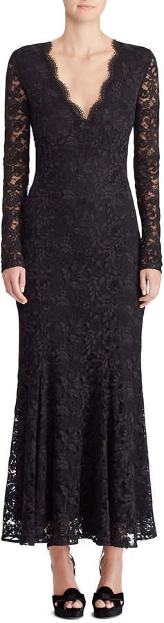 Ralph Lauren 50th Anniversary Estella V-Neck Long-Sleeve A-Line Lace Evening Gown
