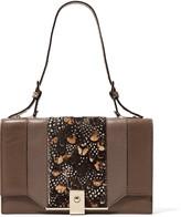 Valentino Paneled printed calf hair and leather shoulder bag