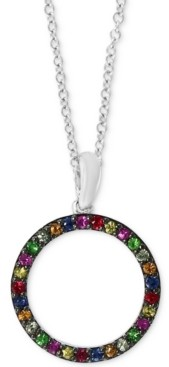 "Effy Multi-Gemstone (1/3 ct. t.w.) Circle 18"" Pendant Necklace in Sterling Silver"