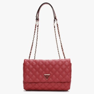 GUESS Cessily Quilted Convertible Red Cross-Body Bag