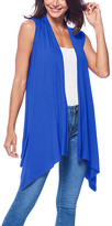 Brooke & Emma Women's Dresswear Vests Royal - Royal Blue Drape-Front Open Vest - Women & Plus