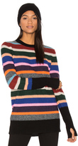 White + Warren Stripe Crew Neck Sweater