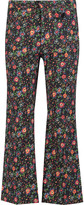 Etoile Isabel Marant Joff cropped floral-print cotton-corduroy bootcut pants