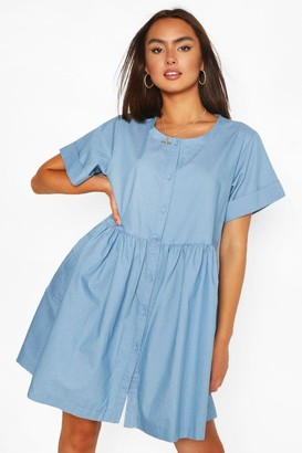 boohoo Chambray Button Down Mini Dress