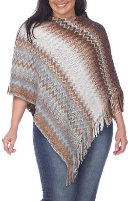 White Mark Womens Round Neck 3/4 Sleeve Chevron Poncho Plus