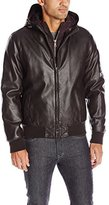 Tommy Hilfiger Men's Smooth Lamb Touch Faux Leather Bomber with Double Hood