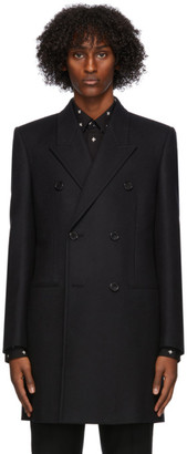 Saint Laurent Black Wool Double-Breasted Coat