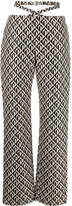 Marine Serre Geometric-Print Cropped Trousers