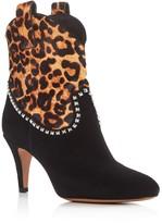 Marc Jacobs Georgia Studded Leopard Print High Heel Booties