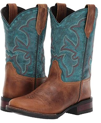 Roper Ezrah (Toddler/Little Kid) (Tan Leather Vamp/Blue Leather Vamp) Cowboy Boots