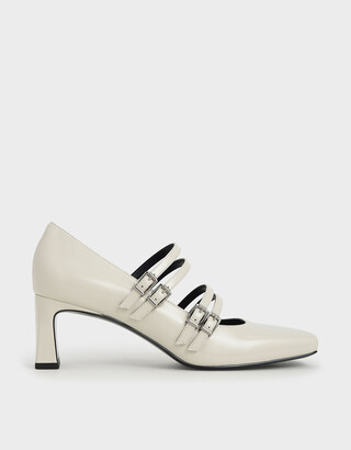 Charles & Keith Buckled Blade Heel Mary Janes