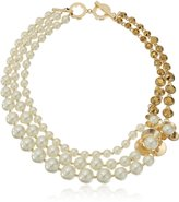 """Anne Klein Gold-Tone Multicolored Row Collar Necklace, 18"""""""