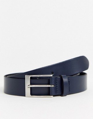 ASOS DESIGN slim belt in navy leather with silver buckle