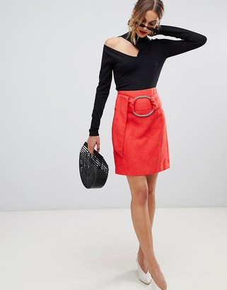 Lost Ink Mini Skirt With Buckle Belt