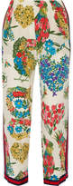 Gucci Grosgrain-trimmed Printed Silk Crepe De Chine Straight-leg Pants - Ivory