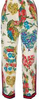 Gucci Grosgrain-trimmed Printed Silk Crepe De Chine Straight-leg Pants