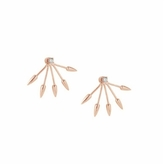 Pamela Love Five Spike 10K Rose Gold with Diamond Earrings