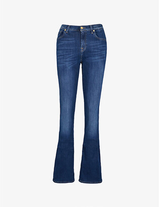 7 For All Mankind Women's Bair Duchess Blue Bootcut Mid-Rise Jeans, Size: 27